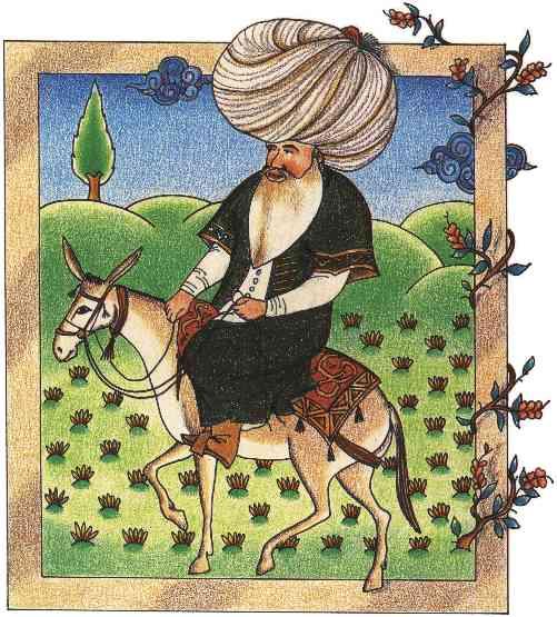 Nasreddin Hoca (17. yüzyıldan bir minyatür) [http://upload.wikimedia.org/wikipedia/commons/a/ac/Nasreddin_(17th-century_miniature).jpg]